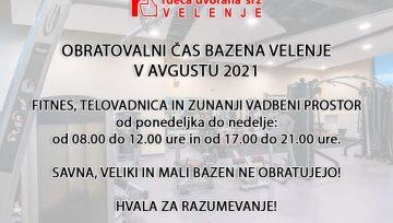 Odpiralni čas bazena - Avgust 2021